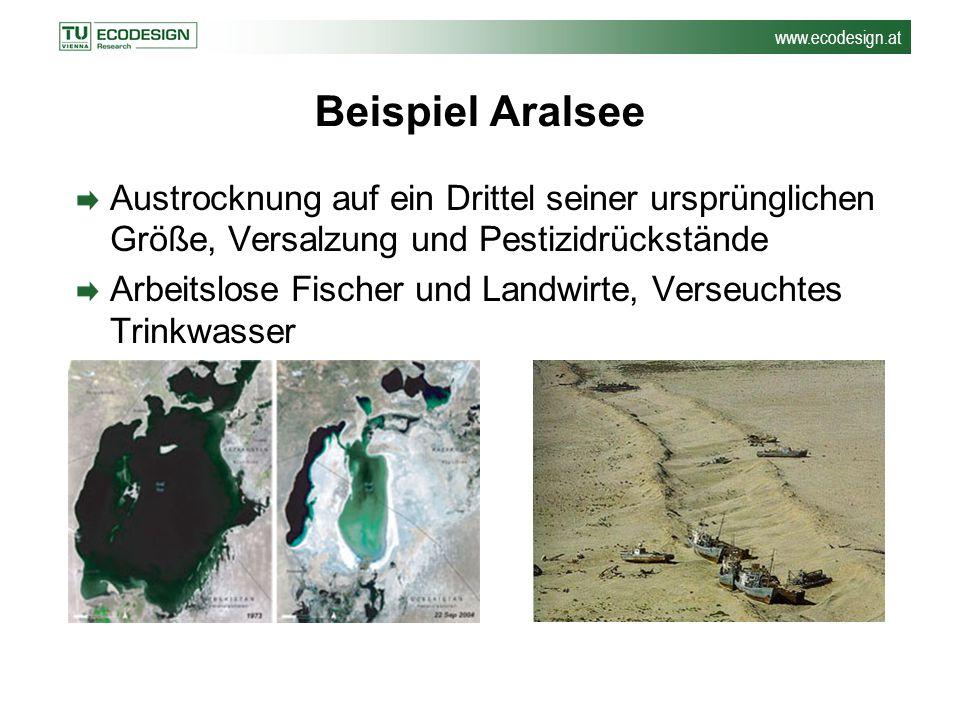 Beispiel Aralsee Austrocknung auf ein Drittel seiner ursprünglichen Größe, Versalzung und Pestizidrückstände.