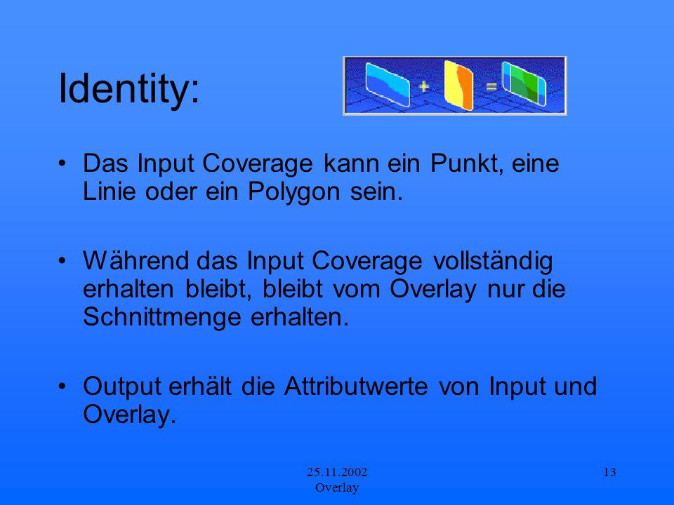 Identity: Das Input Coverage kann ein Punkt, eine Linie oder ein Polygon sein.