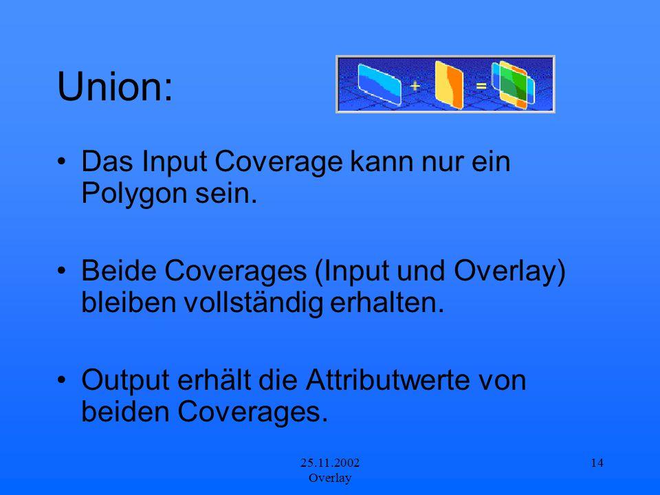 Union: Das Input Coverage kann nur ein Polygon sein.