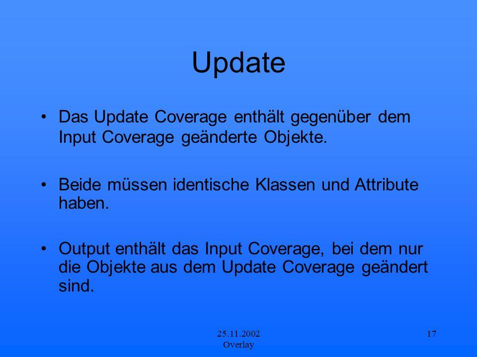Update Das Update Coverage enthält gegenüber dem Input Coverage geänderte Objekte. Beide müssen identische Klassen und Attribute haben.