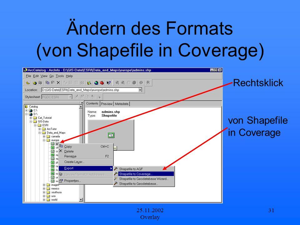Ändern des Formats (von Shapefile in Coverage)