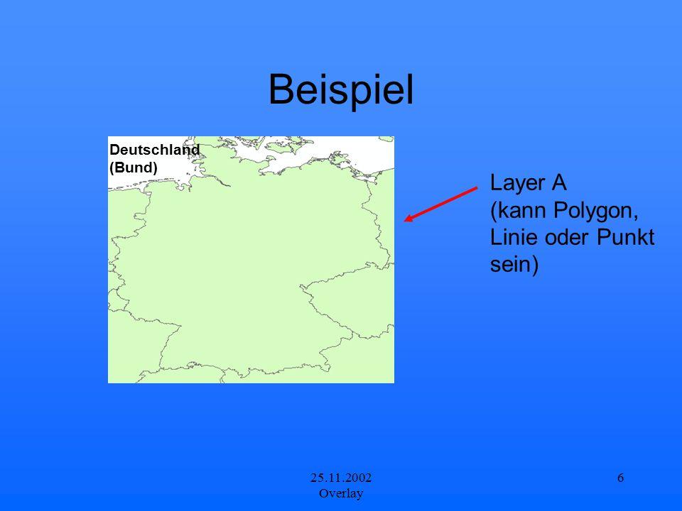 Beispiel Layer A (kann Polygon, Linie oder Punkt sein) Deutschland