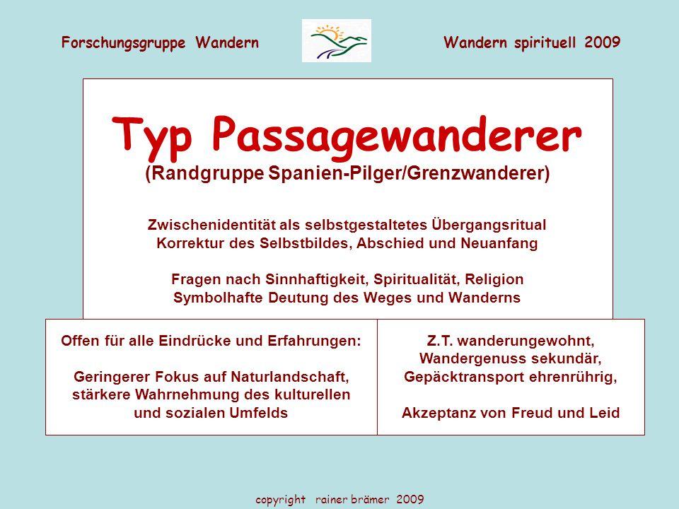 Typ Passagewanderer (Randgruppe Spanien-Pilger/Grenzwanderer)
