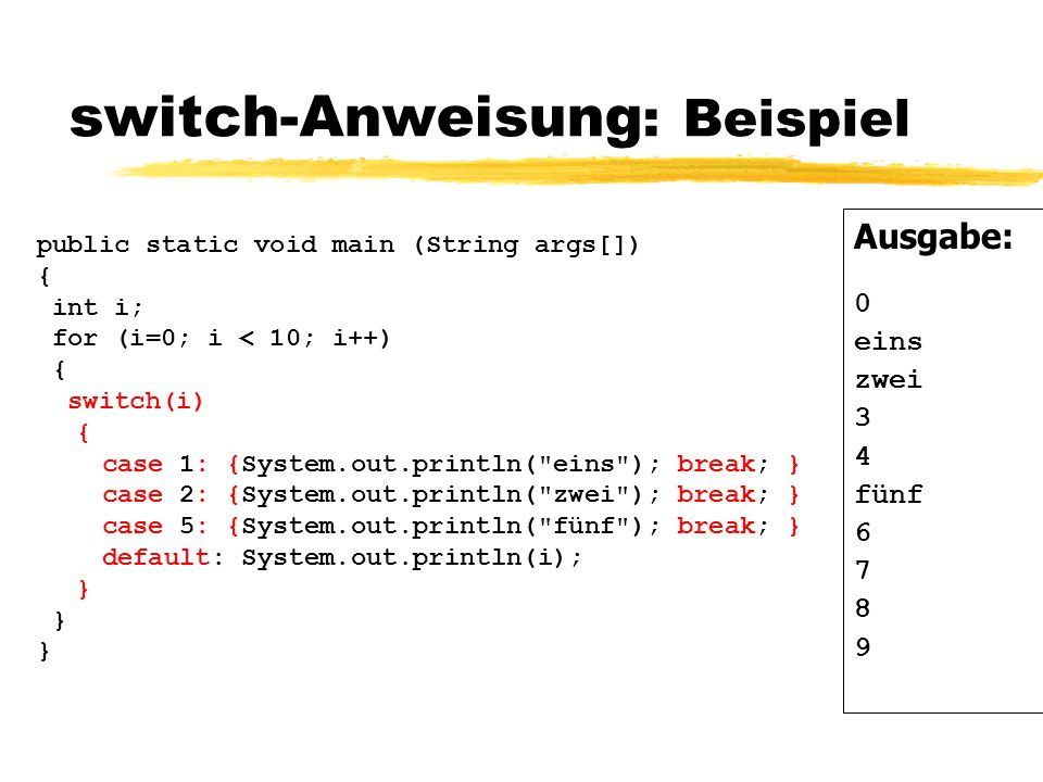 switch-Anweisung: Beispiel
