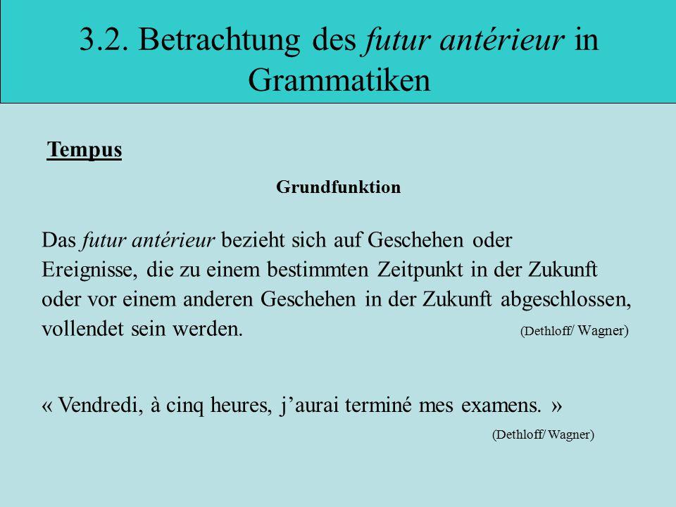3.2. Betrachtung des futur antérieur in Grammatiken