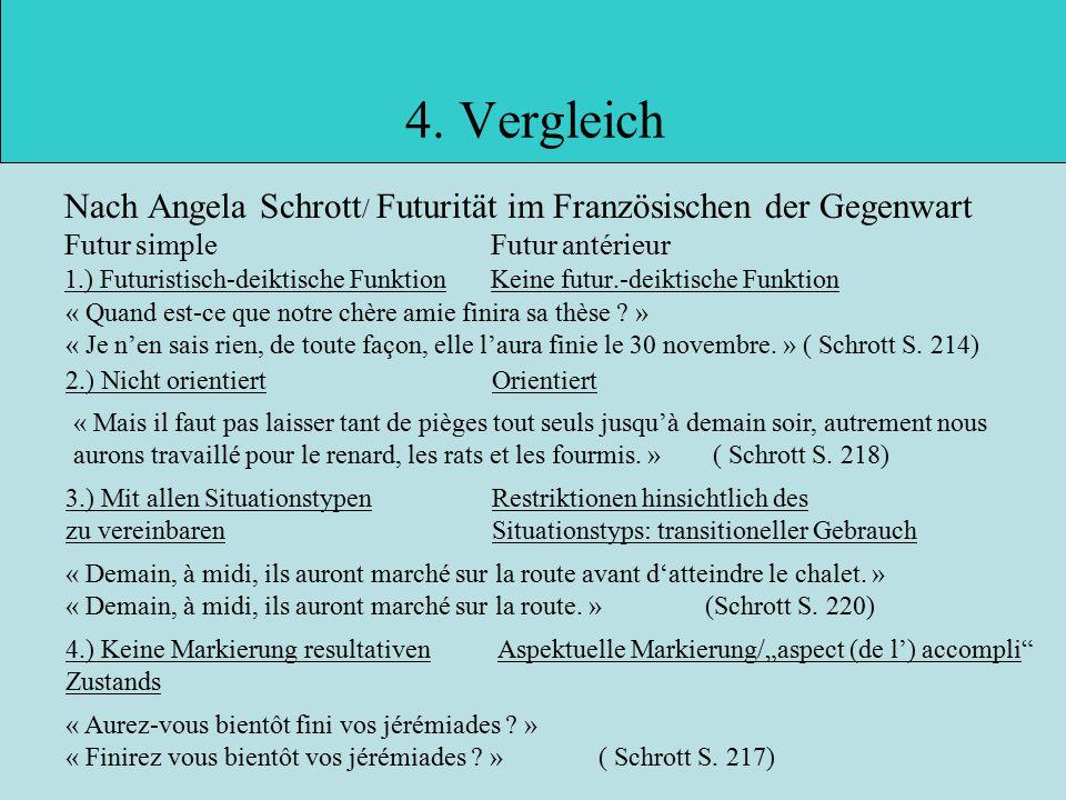 4. Vergleich Nach Angela Schrott/ Futurität im Französischen der Gegenwart. Futur simple Futur antérieur.