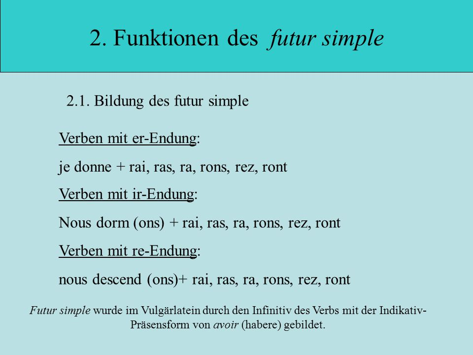 2. Funktionen des futur simple