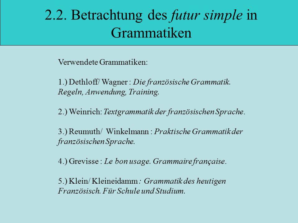 2.2. Betrachtung des futur simple in Grammatiken
