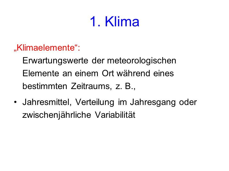"""1. Klima """"Klimaelemente :"""