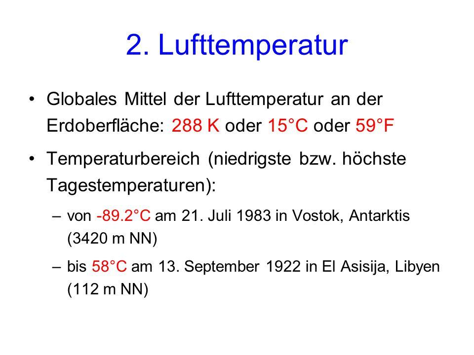 2. Lufttemperatur Globales Mittel der Lufttemperatur an der Erdoberfläche: 288 K oder 15°C oder 59°F.