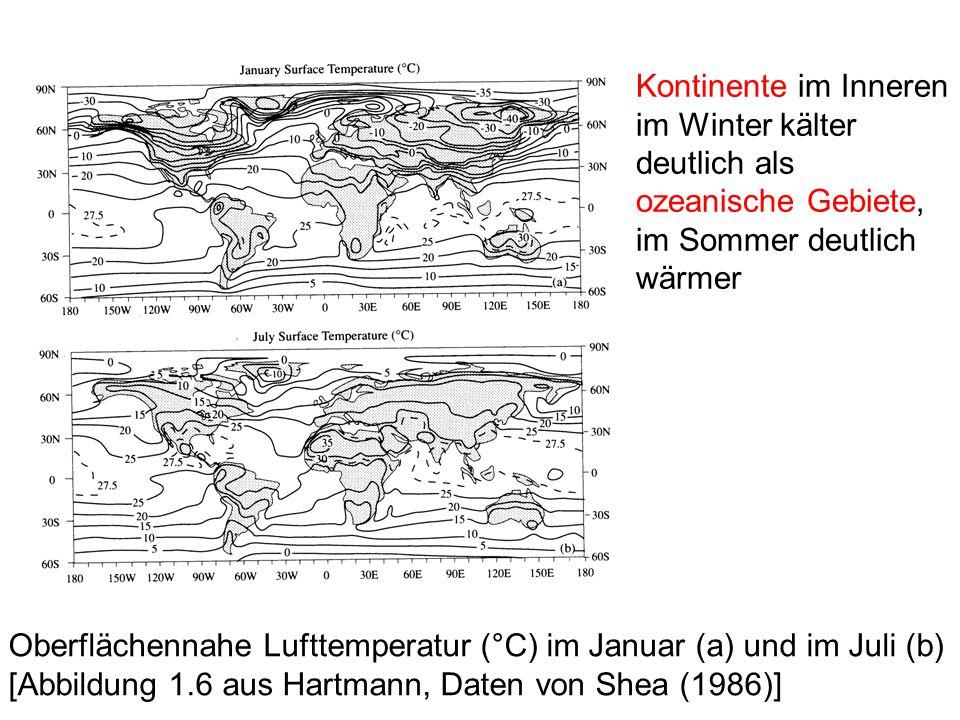Kontinente im Inneren im Winter kälter deutlich als ozeanische Gebiete, im Sommer deutlich wärmer