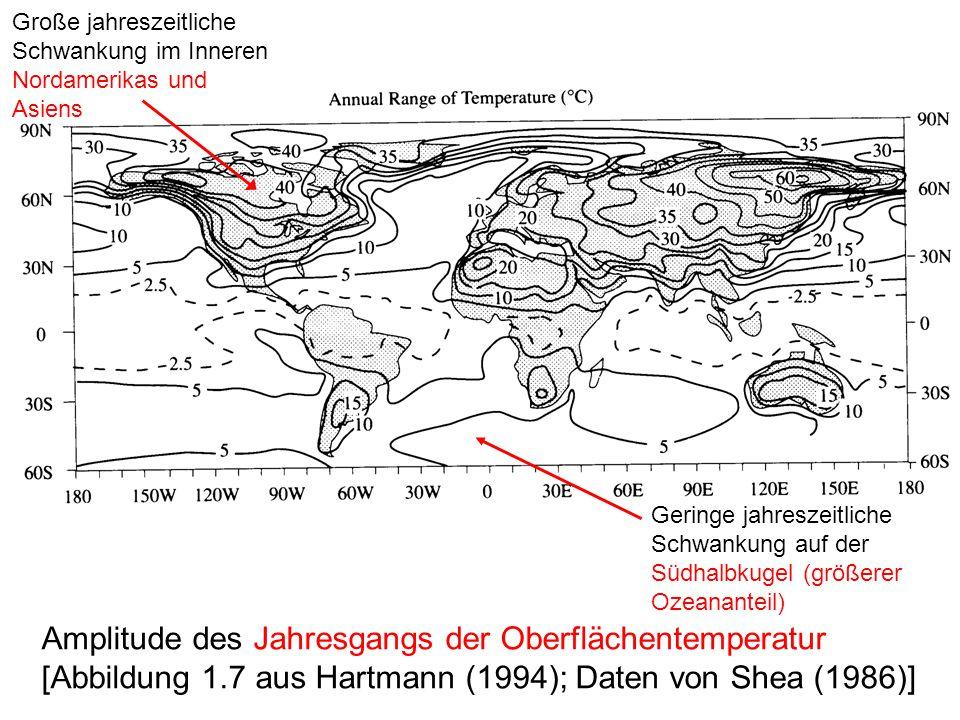 Große jahreszeitliche Schwankung im Inneren Nordamerikas und Asiens
