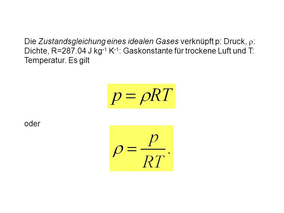 Die Zustandsgleichung eines idealen Gases verknüpft p: Druck, r: Dichte, R=287.04 J kg-1 K-1: Gaskonstante für trockene Luft und T: Temperatur. Es gilt