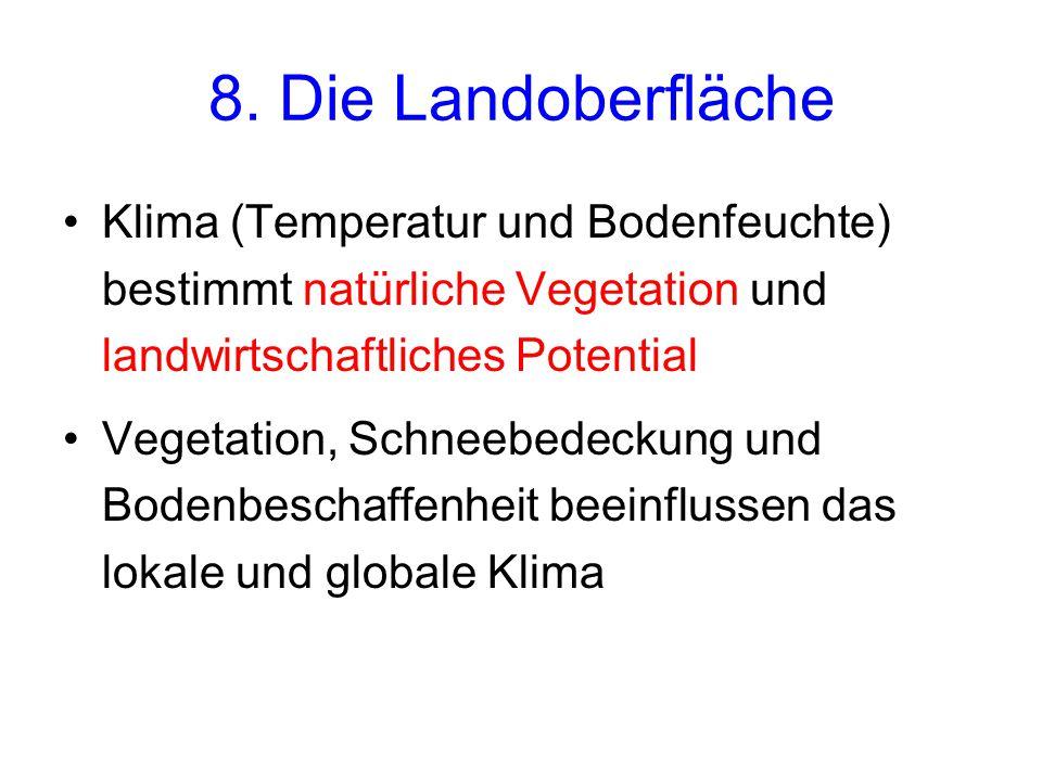 8. Die Landoberfläche Klima (Temperatur und Bodenfeuchte) bestimmt natürliche Vegetation und landwirtschaftliches Potential.