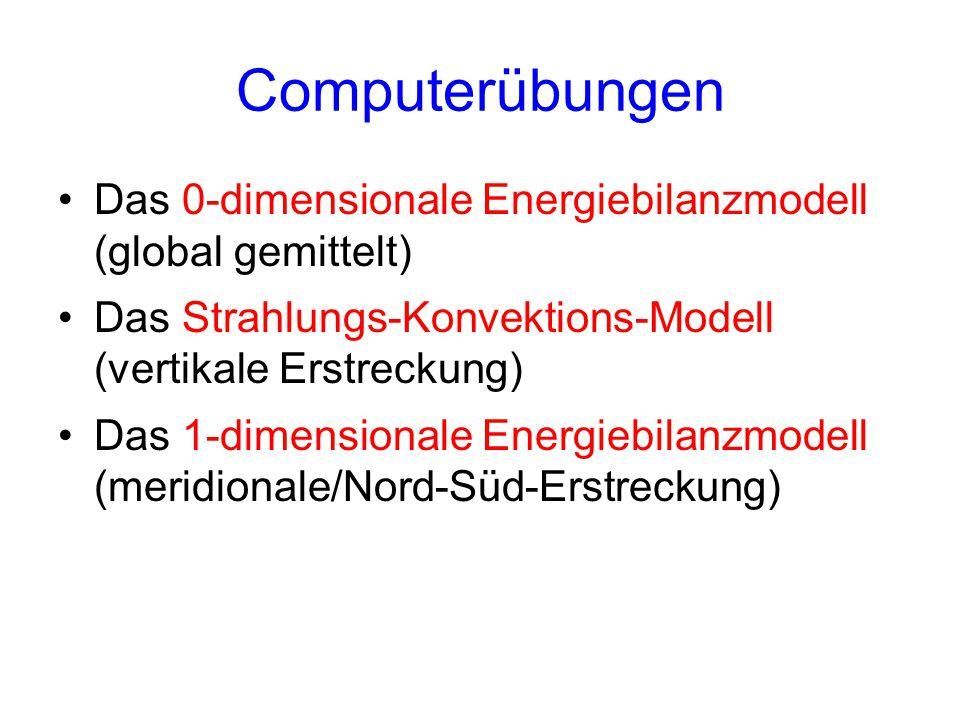 Computerübungen Das 0-dimensionale Energiebilanzmodell (global gemittelt) Das Strahlungs-Konvektions-Modell (vertikale Erstreckung)