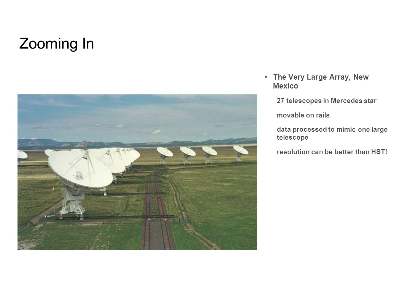 Zooming In The Very Large Array, New Mexico