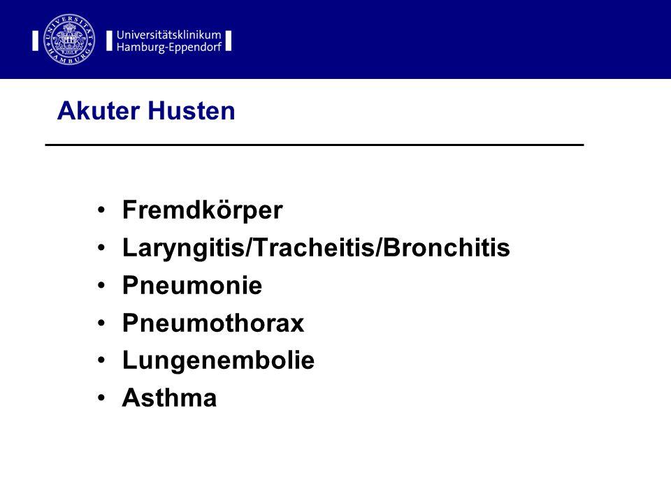 Akuter Husten Fremdkörper. Laryngitis/Tracheitis/Bronchitis. Pneumonie. Pneumothorax. Lungenembolie.