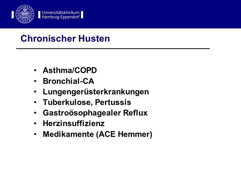Chronischer Husten Asthma/COPD Bronchial-CA Lungengerüsterkrankungen