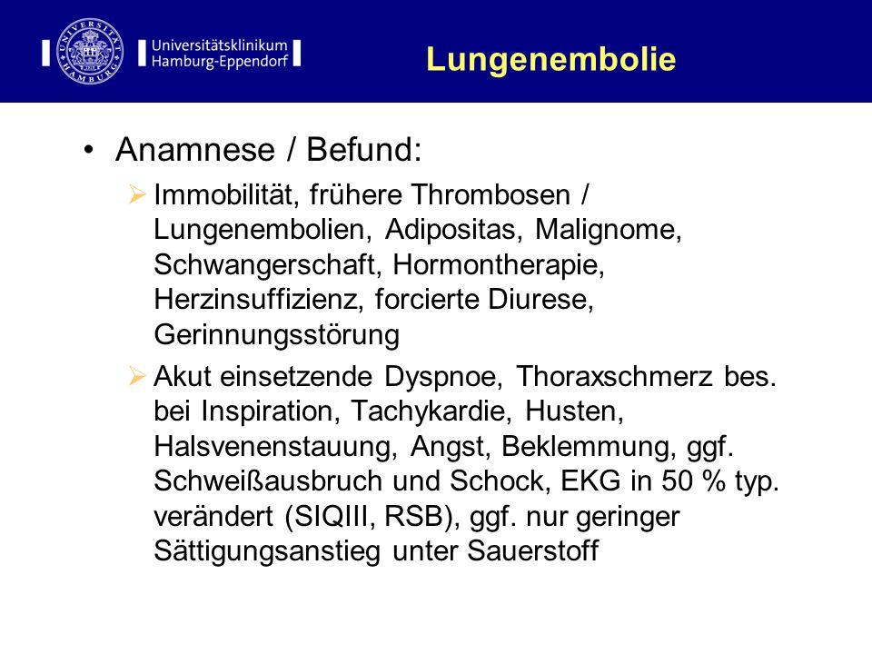 Lungenembolie Anamnese / Befund: