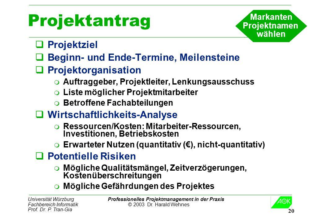 Projektantrag Projektziel Beginn- und Ende-Termine, Meilensteine