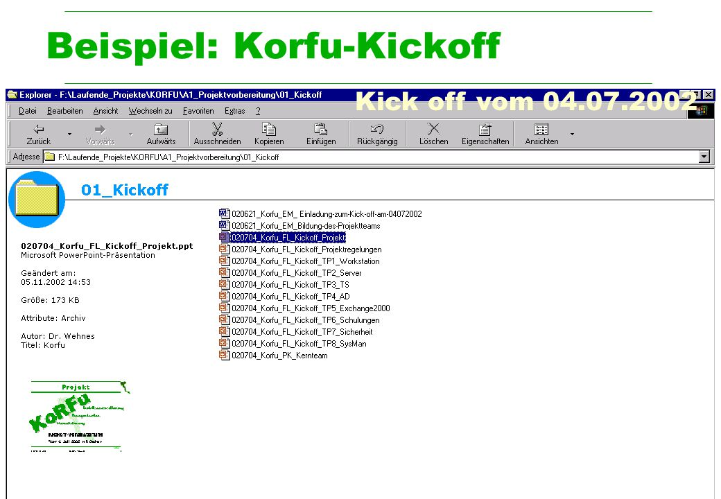 Beispiel: Korfu-Kickoff
