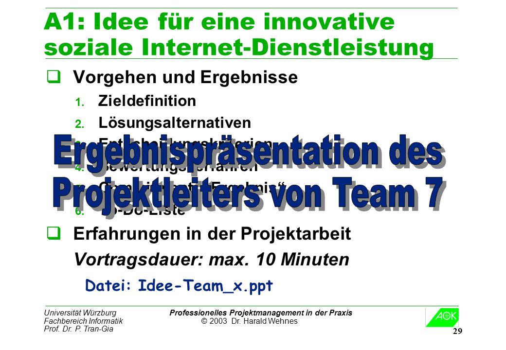 A1: Idee für eine innovative soziale Internet-Dienstleistung