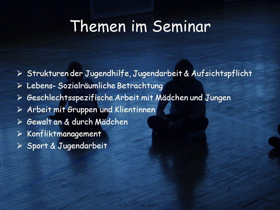 Themen im Seminar Strukturen der Jugendhilfe, Jugendarbeit & Aufsichtspflicht. Lebens- Sozialräumliche Betrachtung.