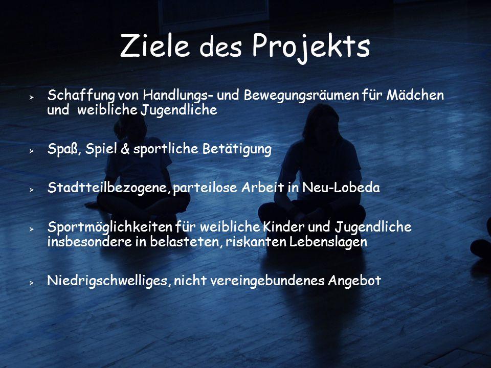 Ziele des Projekts Schaffung von Handlungs- und Bewegungsräumen für Mädchen und weibliche Jugendliche.