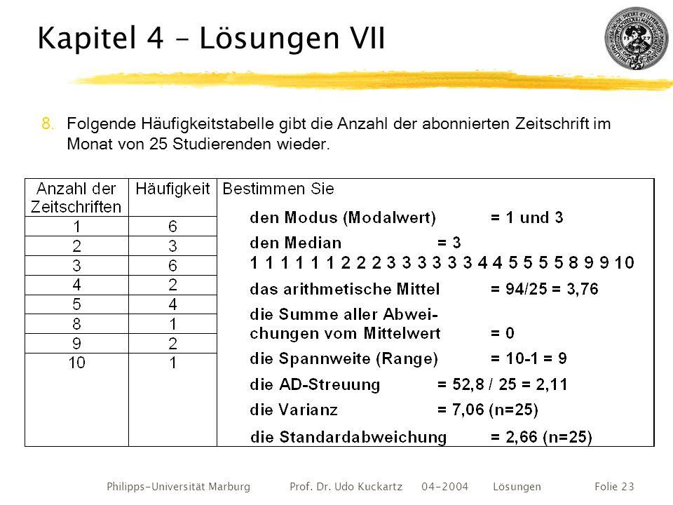 Kapitel 4 – Lösungen VII Folgende Häufigkeitstabelle gibt die Anzahl der abonnierten Zeitschrift im Monat von 25 Studierenden wieder.