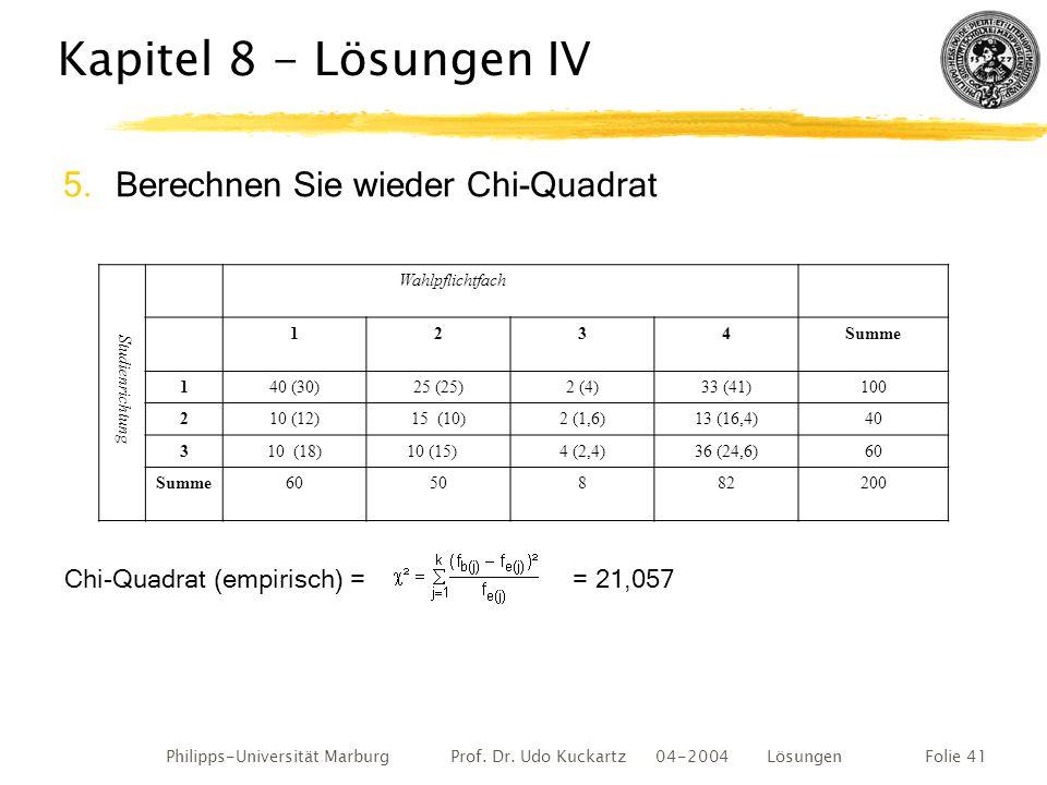 Kapitel 8 - Lösungen IV Berechnen Sie wieder Chi-Quadrat