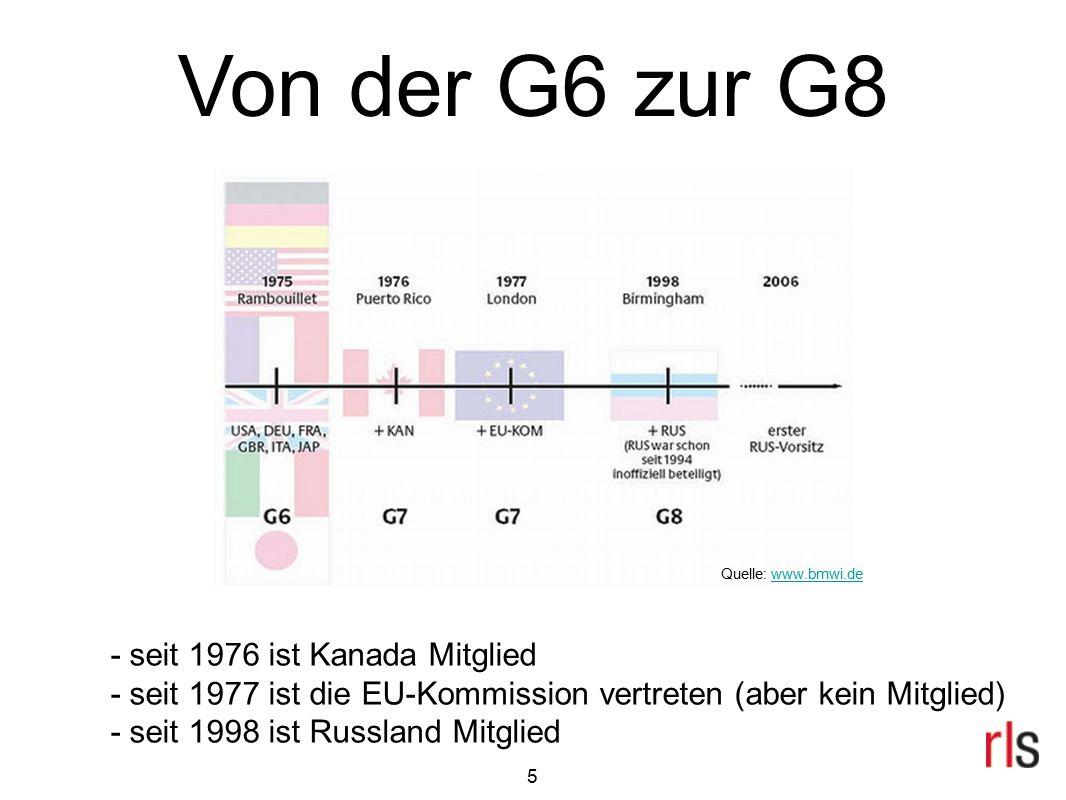 Von der G6 zur G8 - seit 1976 ist Kanada Mitglied