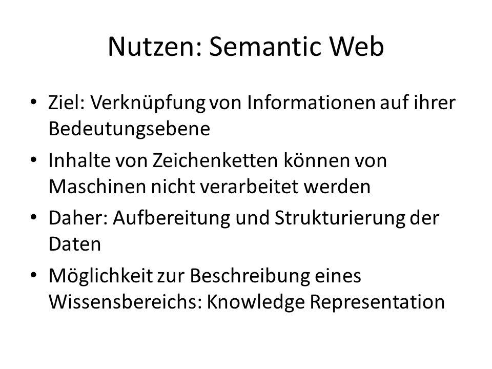 Nutzen: Semantic Web Ziel: Verknüpfung von Informationen auf ihrer Bedeutungsebene.