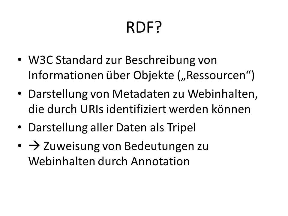 """RDF W3C Standard zur Beschreibung von Informationen über Objekte (""""Ressourcen )"""