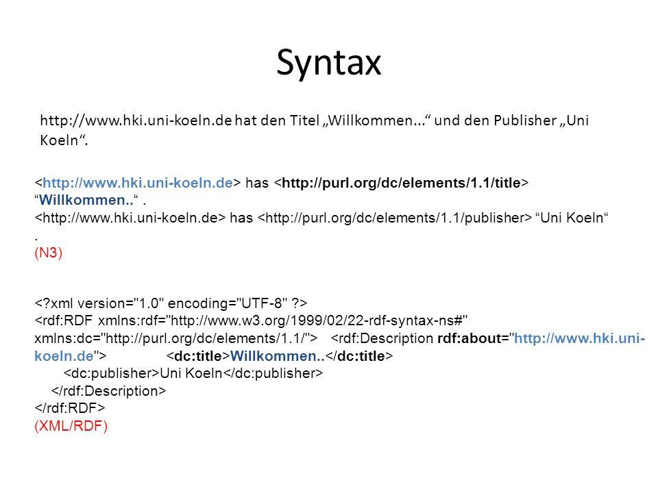 """Syntax http://www.hki.uni-koeln.de hat den Titel """"Willkommen... und den Publisher """"Uni Koeln ."""