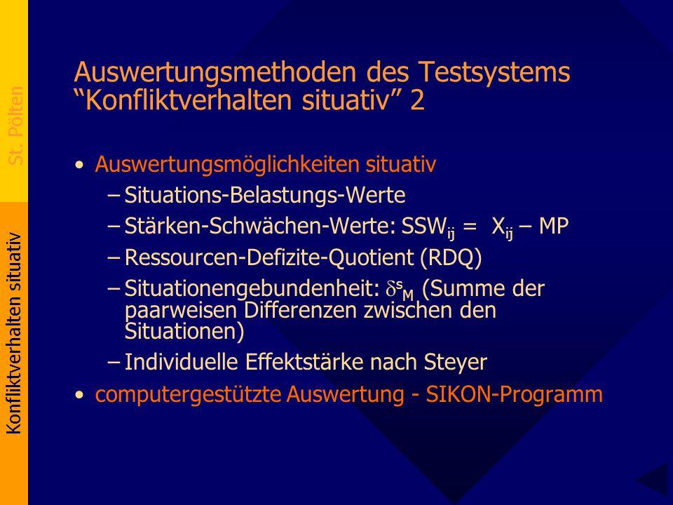 Auswertungsmethoden des Testsystems Konfliktverhalten situativ 2