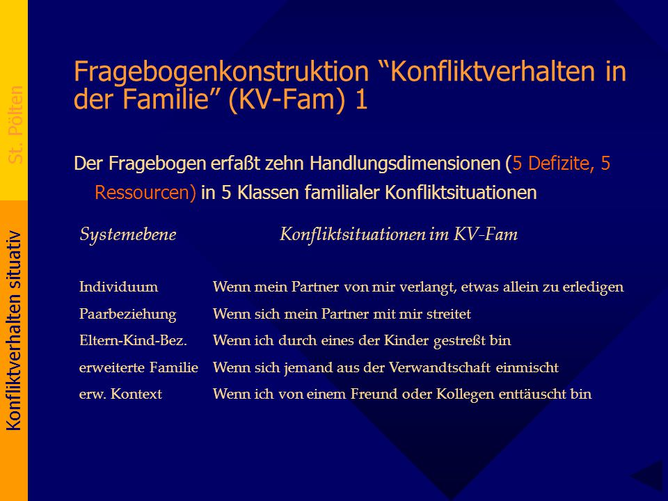 Fragebogenkonstruktion Konfliktverhalten in der Familie (KV-Fam) 1
