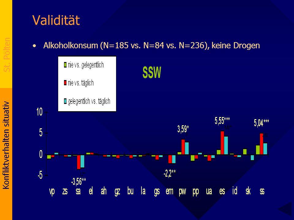 Validität Alkoholkonsum (N=185 vs. N=84 vs. N=236), keine Drogen