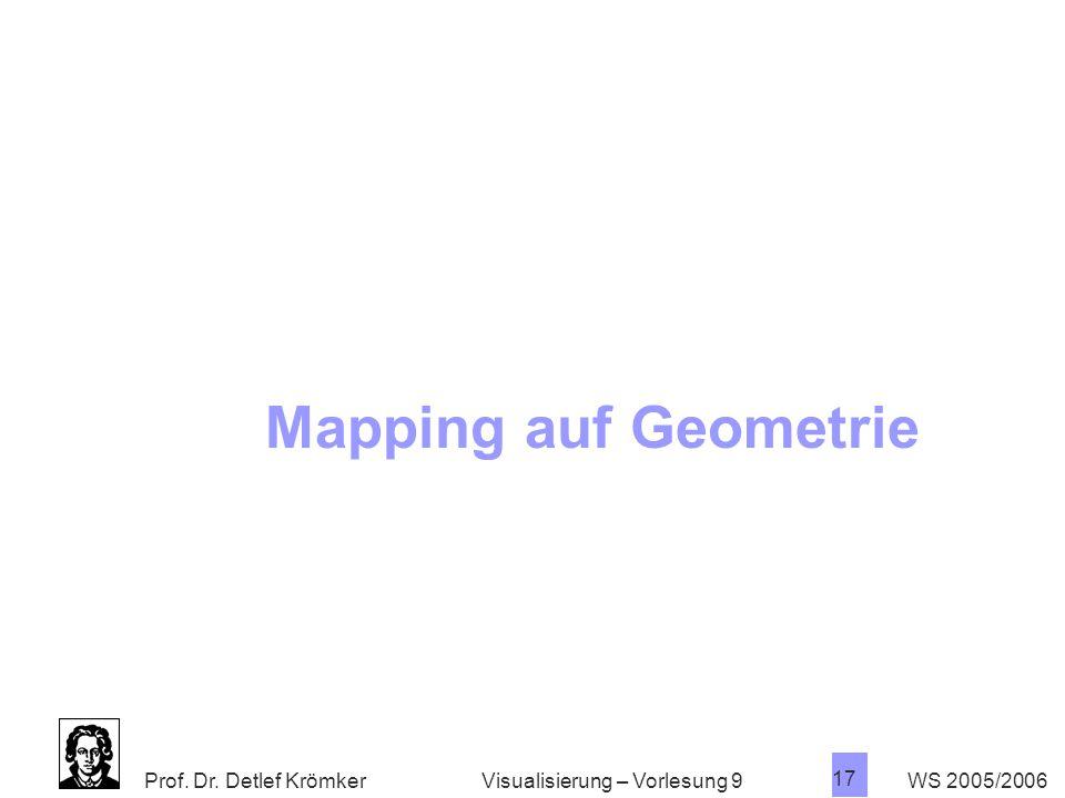 Mapping auf Geometrie Visualisierung – Vorlesung 9 WS 2005/2006