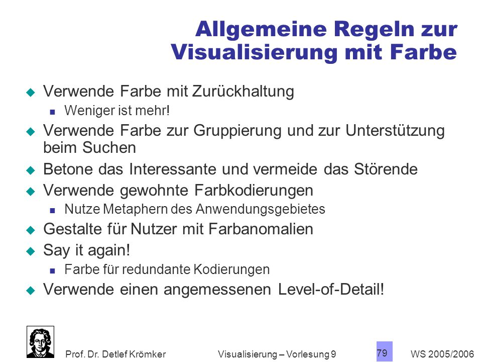 Allgemeine Regeln zur Visualisierung mit Farbe