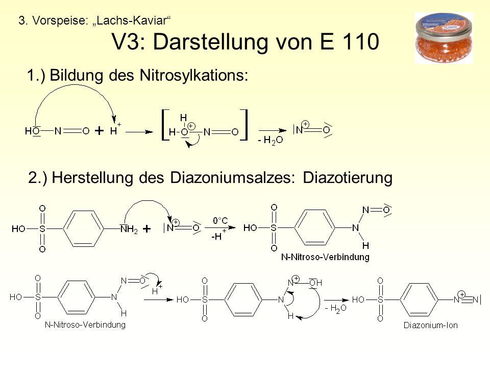 V3: Darstellung von E 110 1.) Bildung des Nitrosylkations: