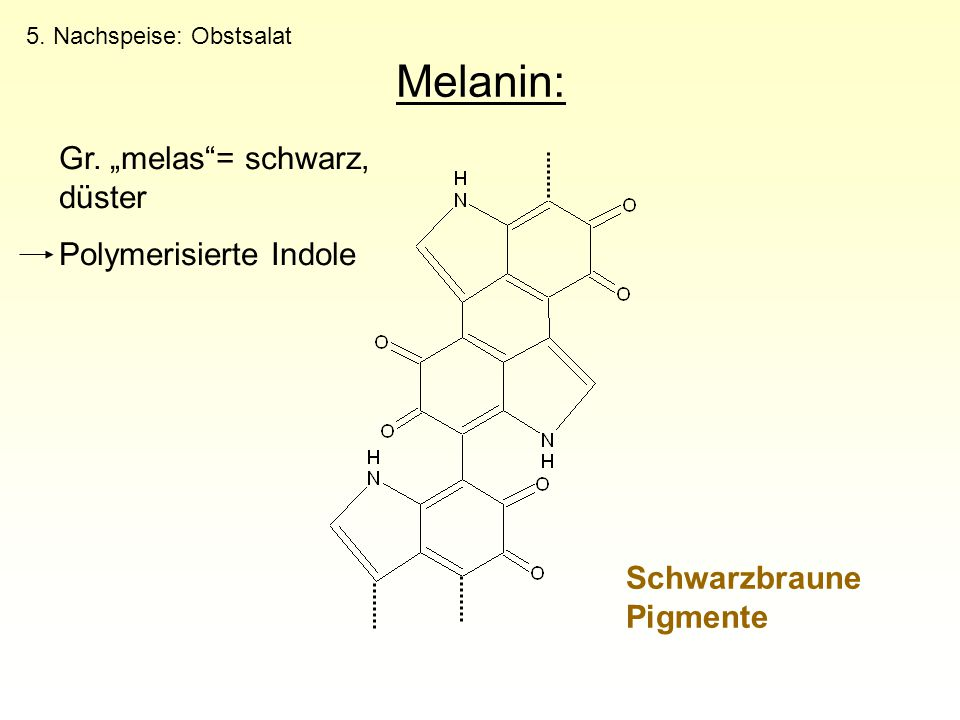 "Melanin: Gr. ""melas = schwarz, düster Polymerisierte Indole"