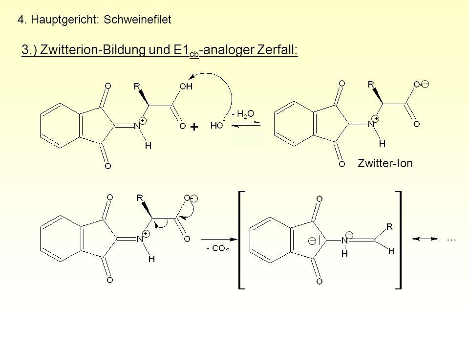 3.) Zwitterion-Bildung und E1cb-analoger Zerfall:
