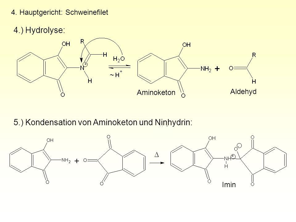 5.) Kondensation von Aminoketon und Ninhydrin: