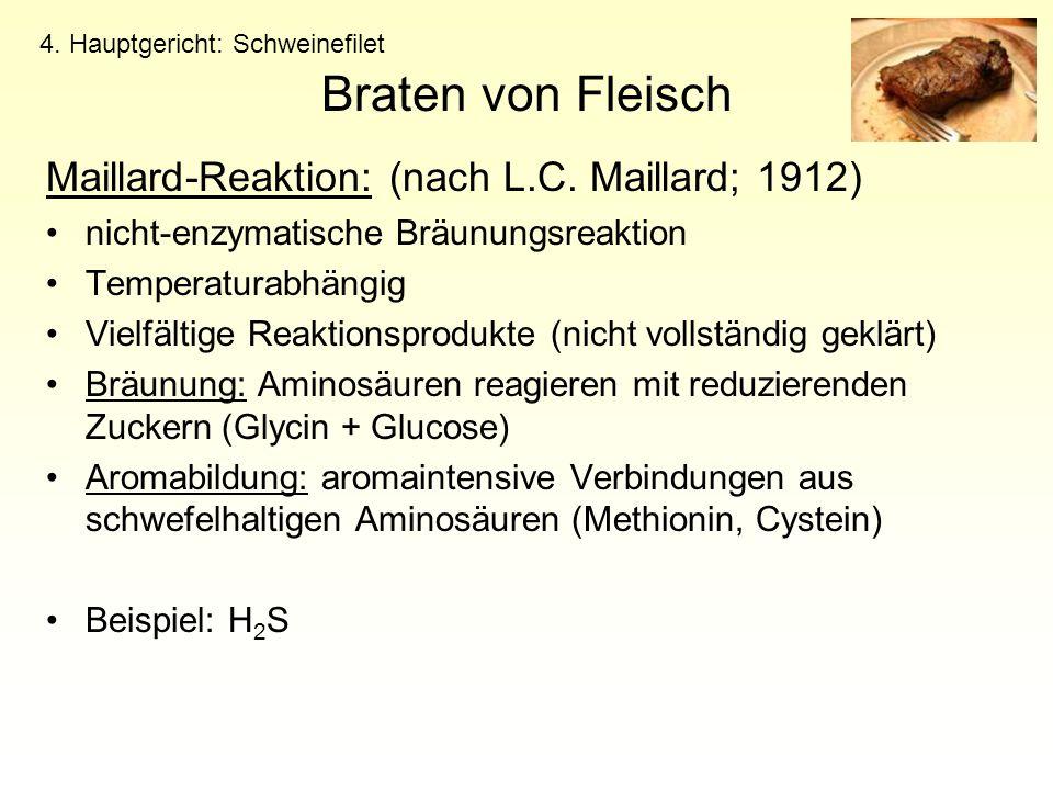 Braten von Fleisch Maillard-Reaktion: (nach L.C. Maillard; 1912)