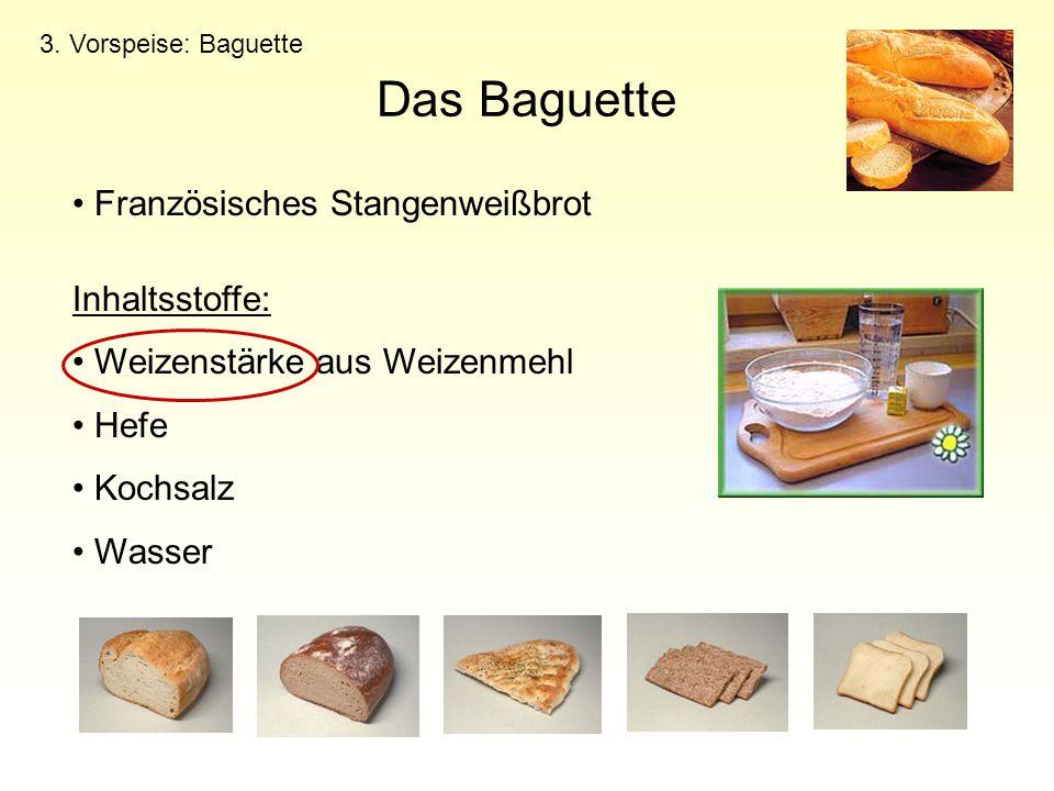 Das Baguette Französisches Stangenweißbrot Inhaltsstoffe: