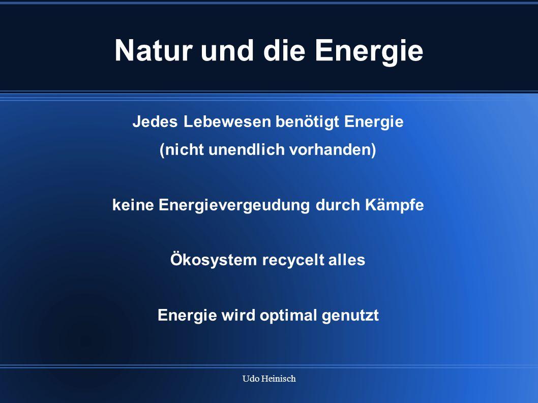 Natur und die Energie Jedes Lebewesen benötigt Energie