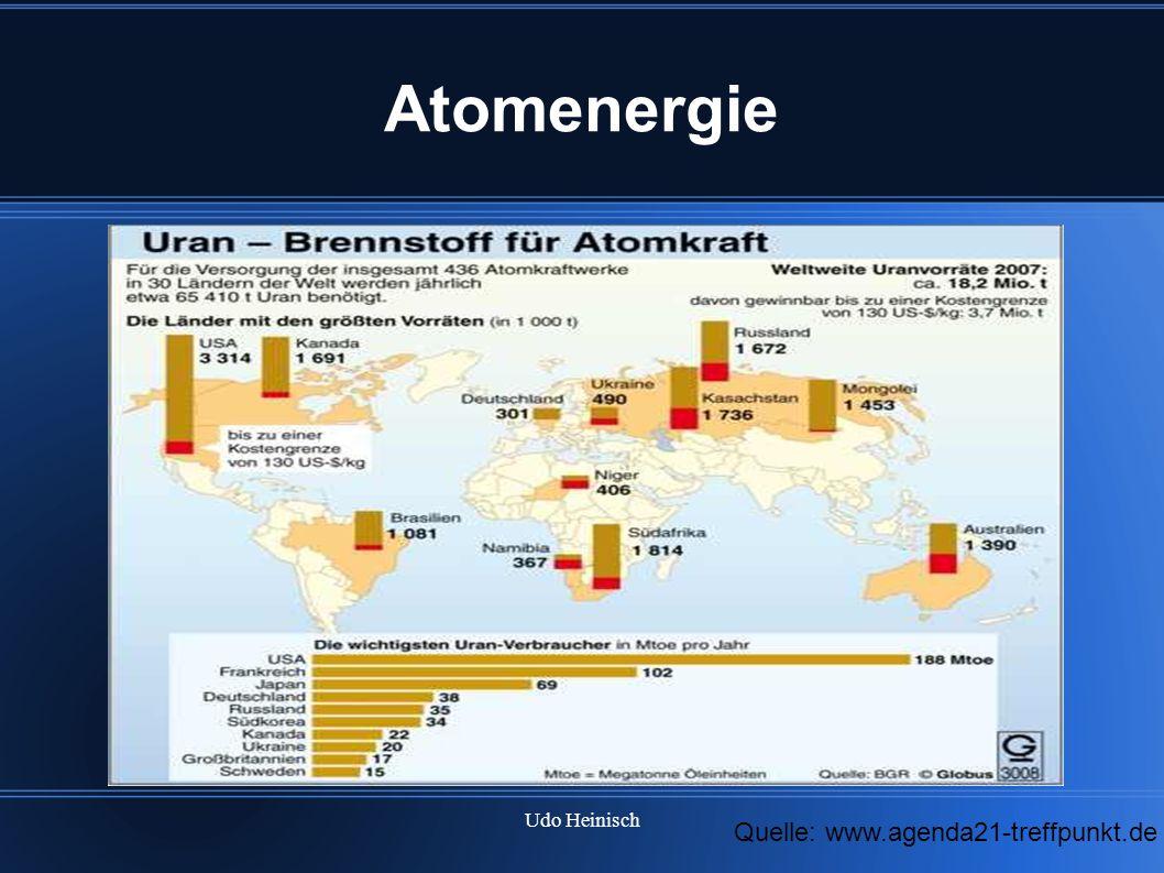 Atomenergie Hier sehen wir die weltweiten Uranvorkommen Weltweit