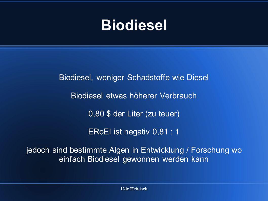 Biodiesel Biodiesel, weniger Schadstoffe wie Diesel