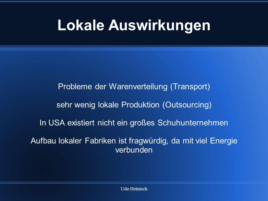 Lokale Auswirkungen Probleme der Warenverteilung (Transport)