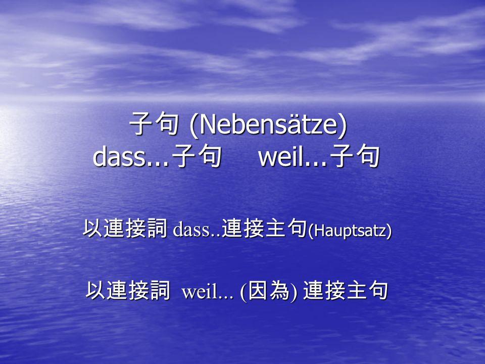 子句 (Nebensätze) dass...子句 weil...子句